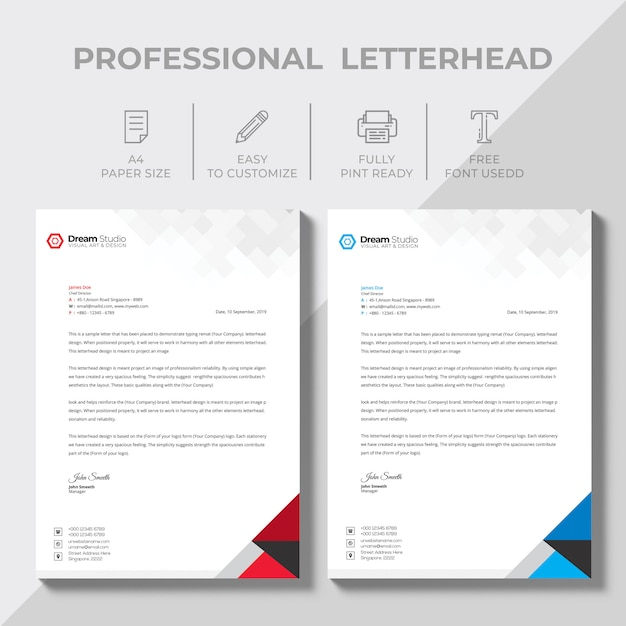 Free Vector Printable Stationery Design Template: Creative Letterhead Design Template Vector PSD File