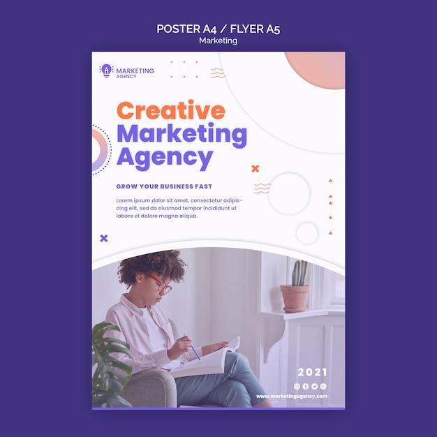 Шаблон креативного маркетингового плаката Бесплатные Psd