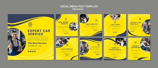 Creative mechanic social media posts templates with photo Premium Psd