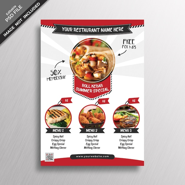 Creative menu cover mockup Premium Psd