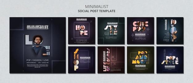 Креативный минималистичный шаблон постов в instagram Premium Psd