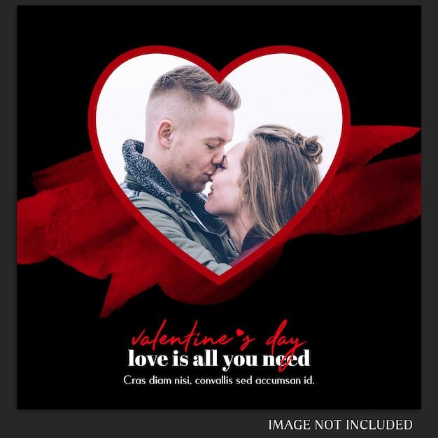 Creative modern romantic valentine day instagram post template and photo mockup Premium Psd