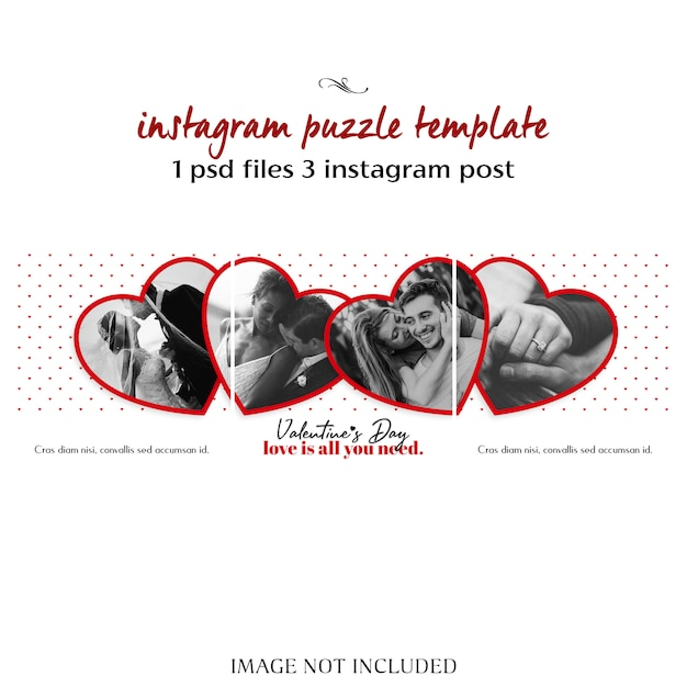 Creative modern romantic valentine day instagram puzzle post template and photo mockup Premium Psd