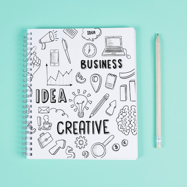 Creative notepad mockup Free Psd