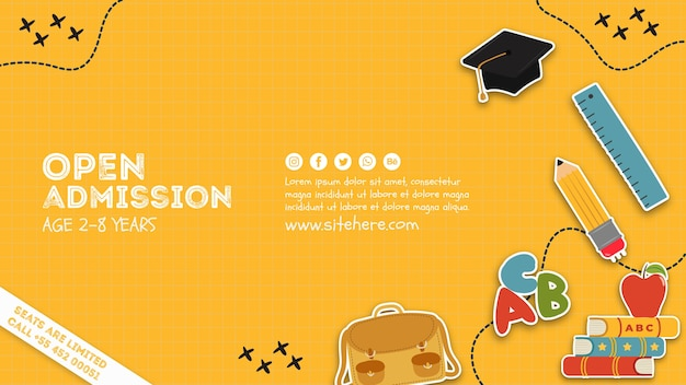 Creative open admission poster template Free Psd