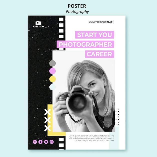 Modello di poster di fotografia creativa con foto Psd Gratuite