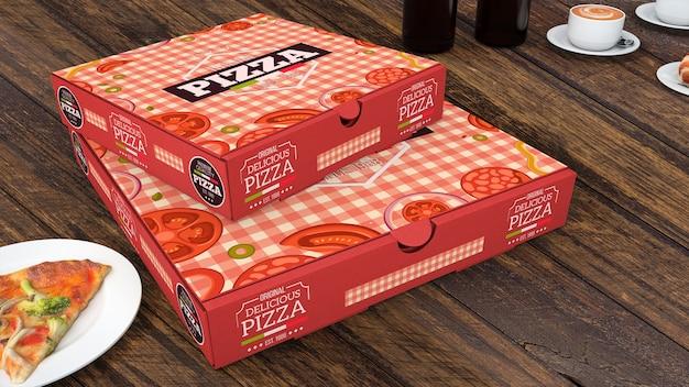 Creative pizza boxes mockup Free Psd