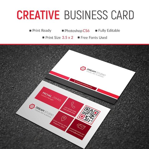 Creative red business card mockup Premium Psd