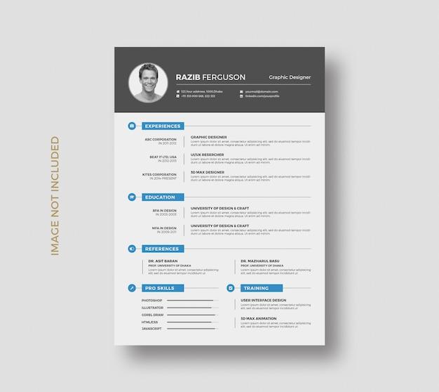 Creative resume cv template design Premium Psd
