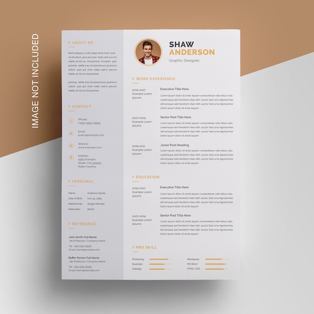 Creative resume design with sidebar Premium Psd