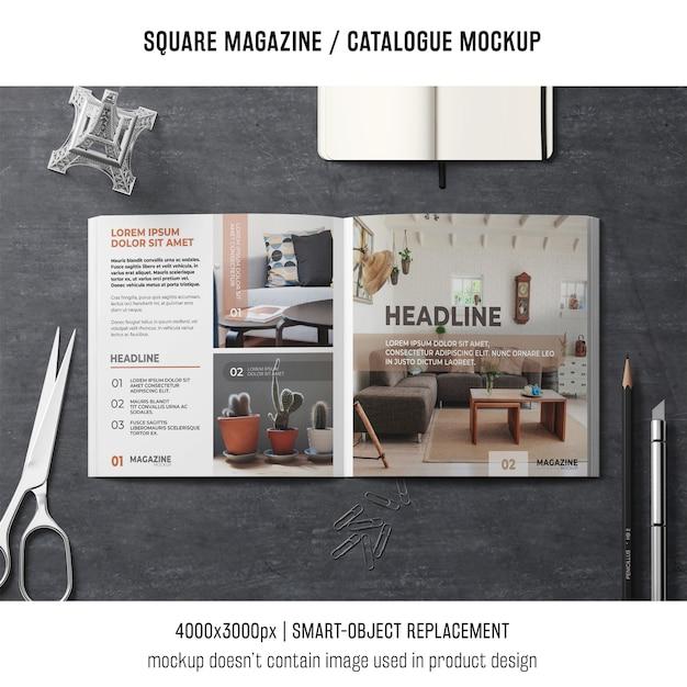 Creative square magazine or catalogue mockup Free Psd