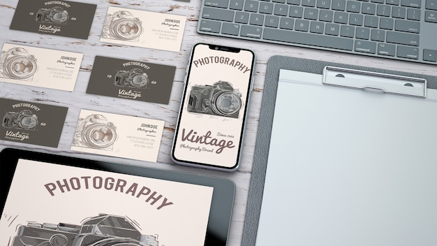 Creative stationery mockup with photography concept Free Psd