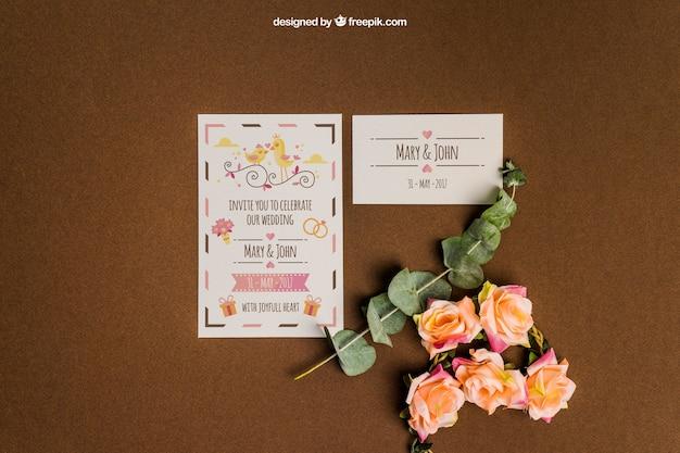 Creative stationery wedding mockup Free Psd