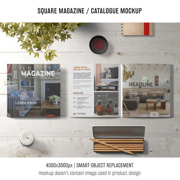 Creative still life of square magazine or catalogue mockup Free Psd