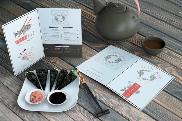 Creative sushi bar menu mockup Free Psd