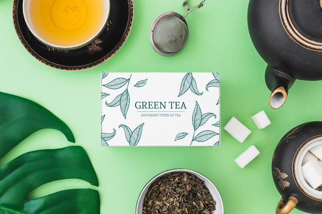 Creative tea mockup Free Psd