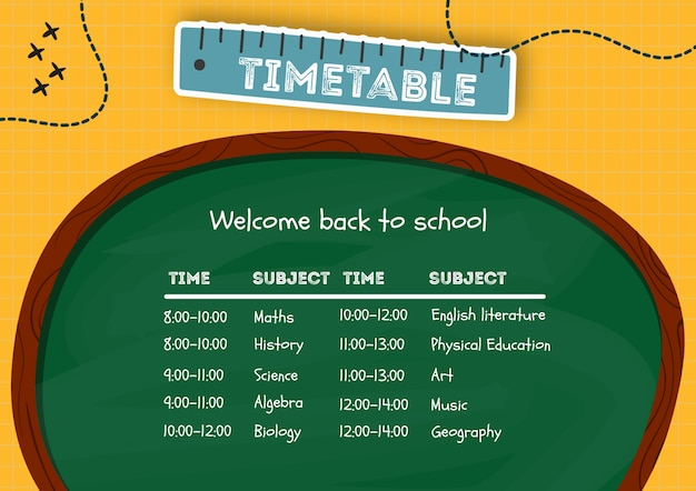 Creative timetable made for kids template Free Psd