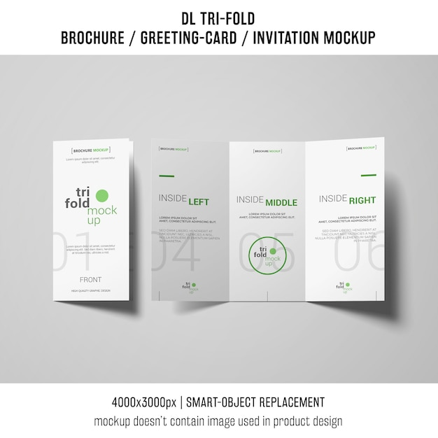 creative trifold brochure or invitation mockup Free Psd