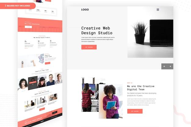 Страница веб-сайта студии креативного веб-дизайна Premium Psd