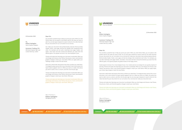 Creative white letterhead template Premium Psd