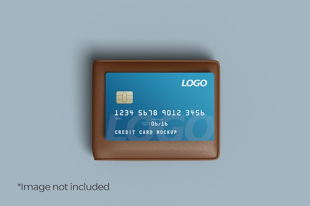 Credit card mockup design with wallet Premium Psd