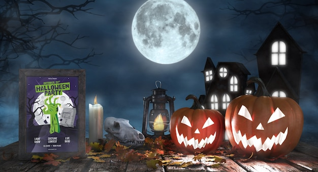Creepy halloween arrangement with movie poster Free Psd