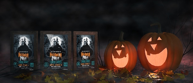 Creepy halloween arrangement with movie posters Free Psd