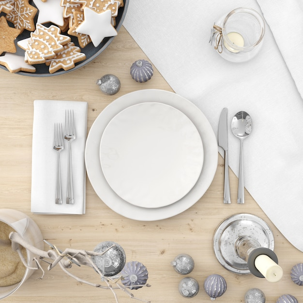 Crockery and decorations on a christmas table Free Psd