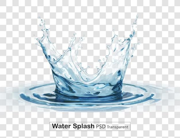 크라운 물 스플래시 투명 절연 프리미엄 PSD 파일