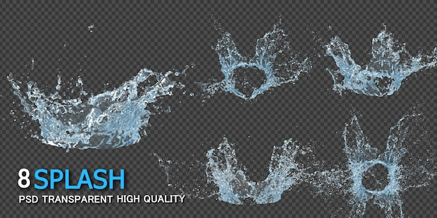 Crown water splash transparent Premium Psd