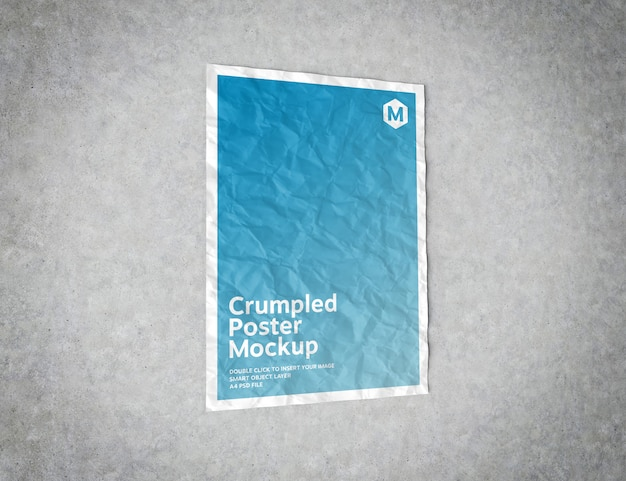 Crumpled poster on concrete surface mockup Premium Psd