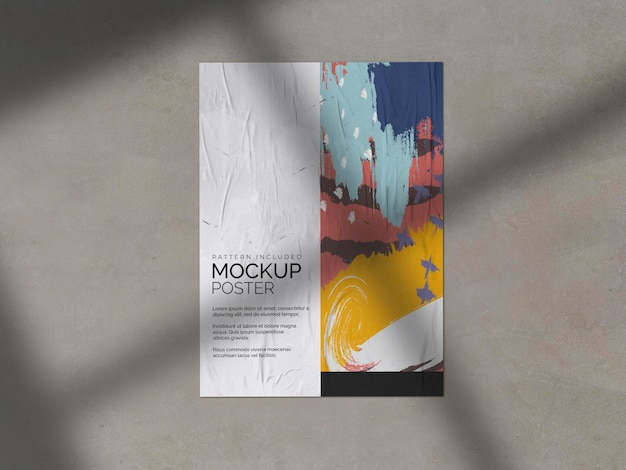 Мятый плакат с теневым макетом Бесплатные Psd