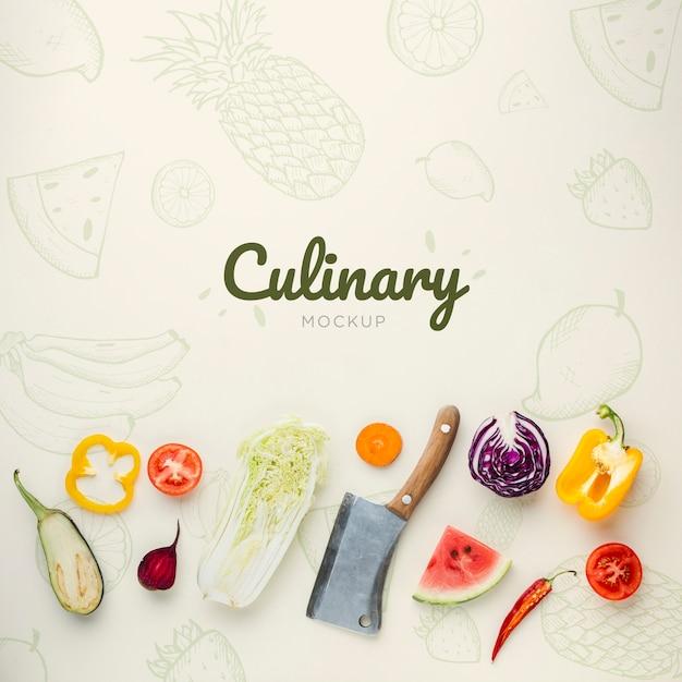 Кулинарные надписи с каракулями и овощами Бесплатные Psd
