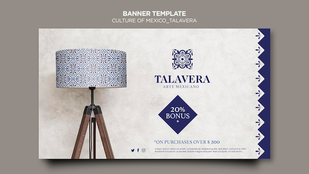 Culture of mexico talavera banner template Free Psd
