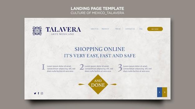 Culture of mexico talavera landing page Free Psd