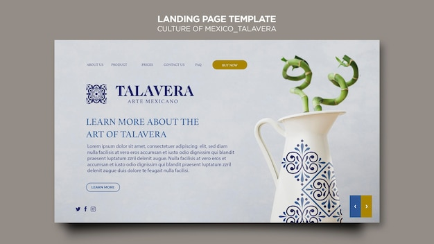 Culture of mexico talavera landing page Free Psd