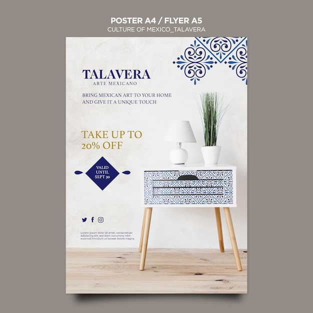 Culture of mexico talavera poster template Free Psd