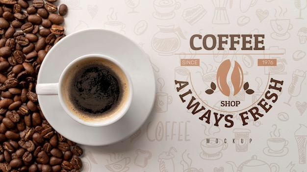 Cup of coffee on desk Premium Psd