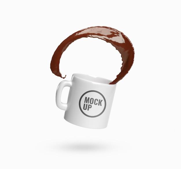 Кубок кофе всплеск реалистичный макет Premium Psd