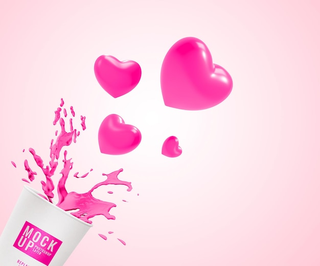 Cup of pink water mockup Premium Psd