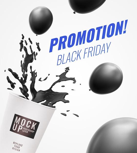 Cup splash promotion advertising banner Premium Psd
