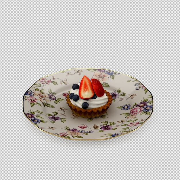 Cupcake 3d isolated render Premium Psd