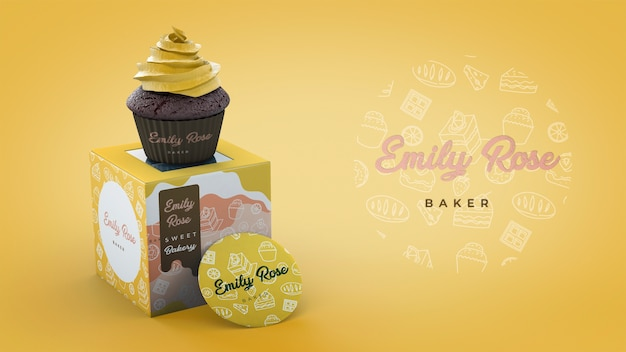 Cupcake packaging and branding mockup Free Psd