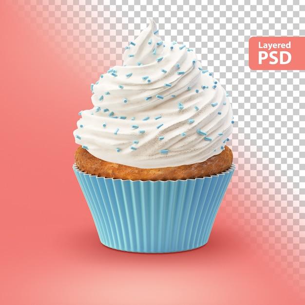 白いクリームのカップケーキ 無料 Psd