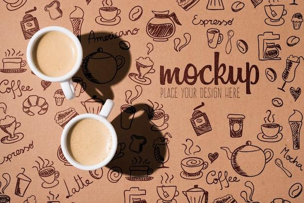 Макет чашки кофе с тенями Premium Psd