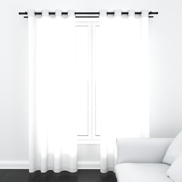 Шторы на белом окне Бесплатные Psd