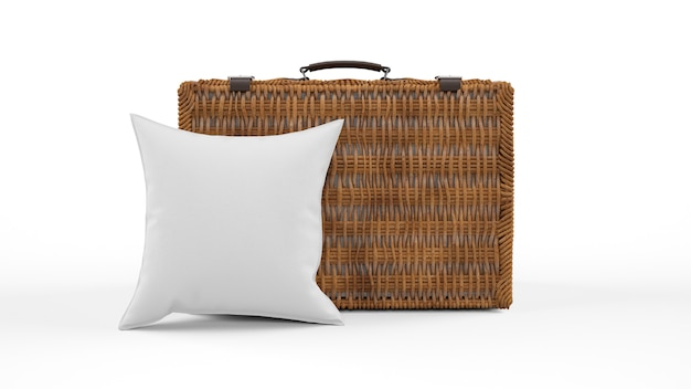 Cushion in gray color and wicker suitcase isolated Free Psd