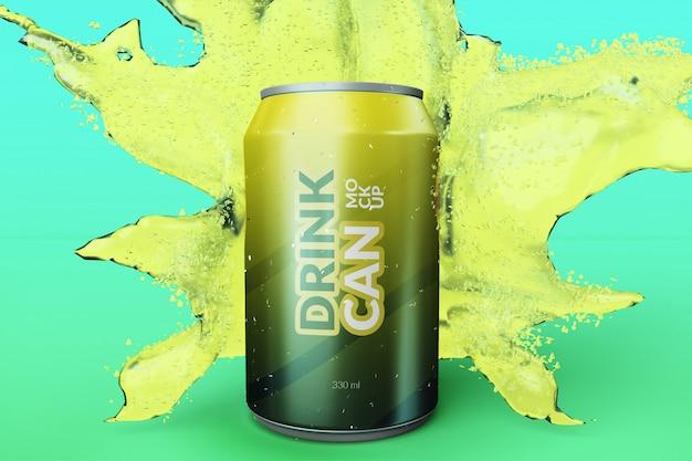 Customizable premium quality soda drink can with water splash mockups Premium Psd