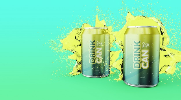 Customizable premium quality soda drink can with water splash mockups Premium Psd
