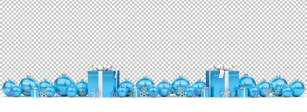 Cut out blue christmas baubles and gifts on snow Premium Psd